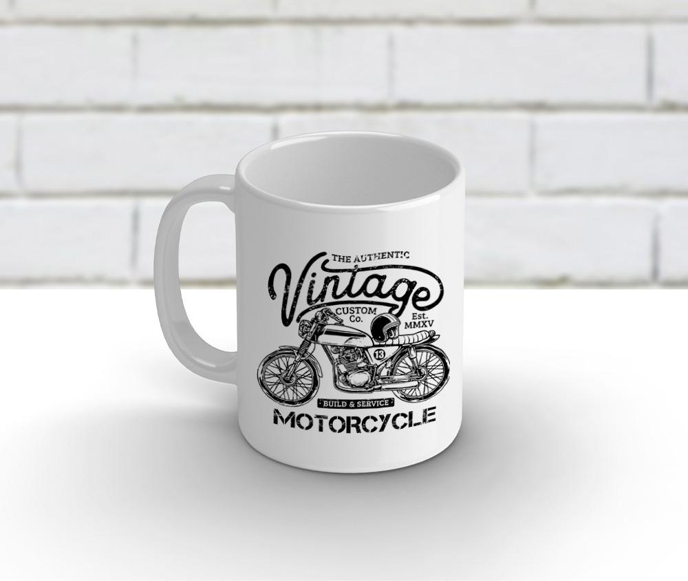 Caneca cerâmica branca 325 ml - Motorcycle