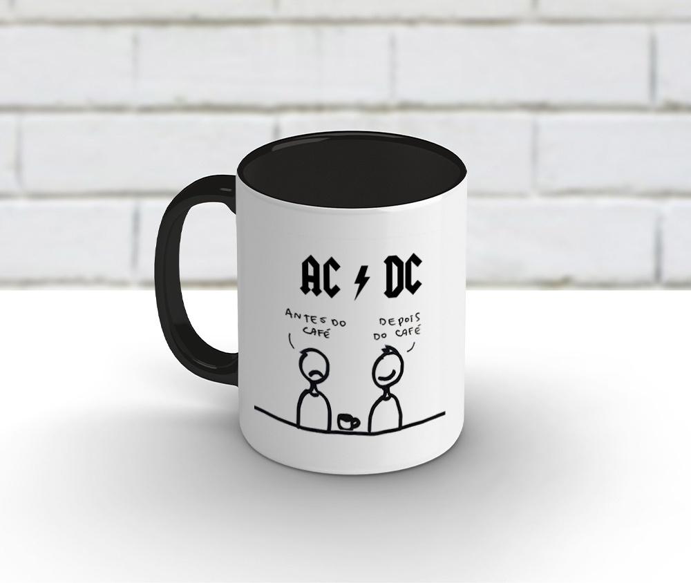 Caneca cerâmica branca com borda e alça preta 325 ml - ACDC