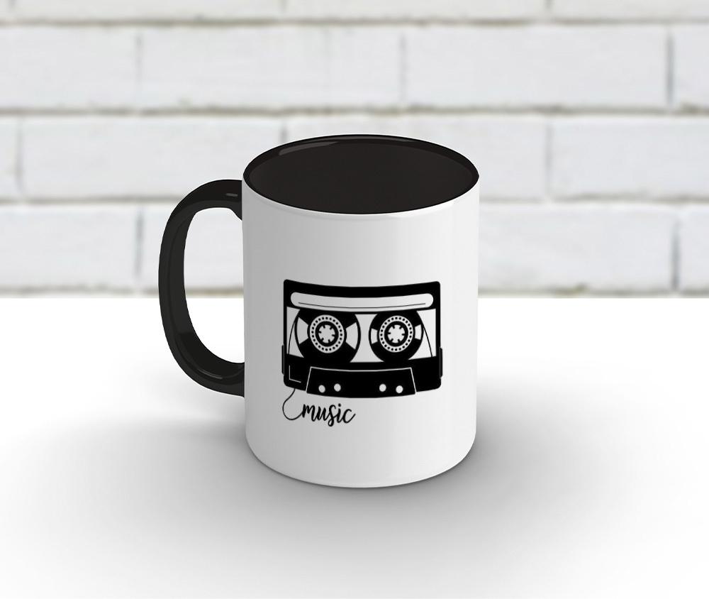 Caneca cerâmica branca com borda e alça preta 325 ml - Music Life