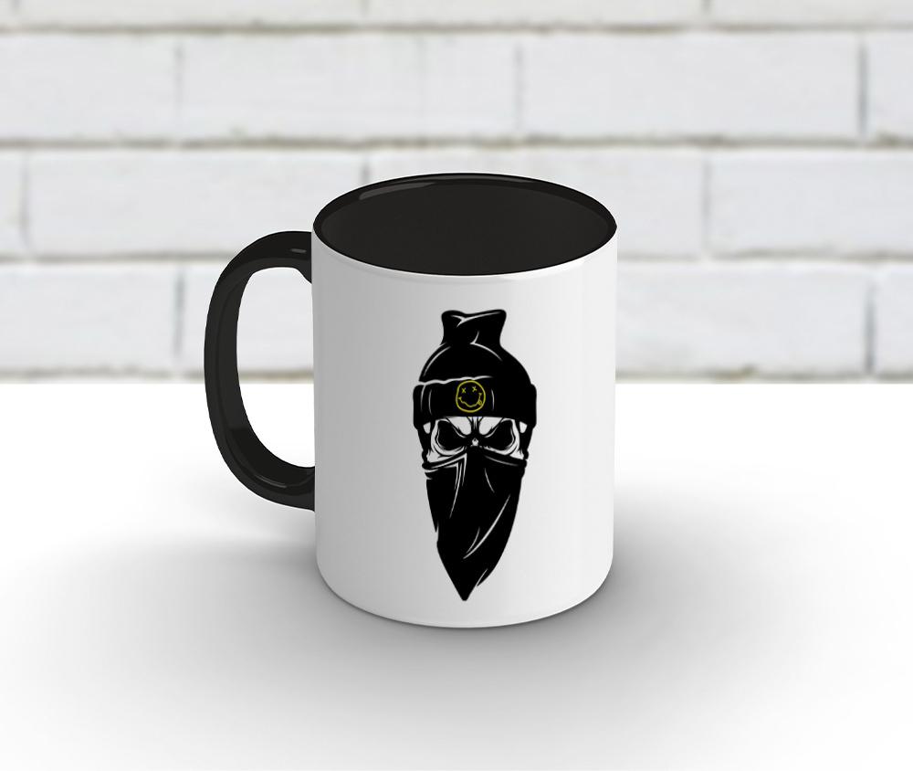 Caneca cerâmica branca com borda e alça preta 325 ml - Nirvana