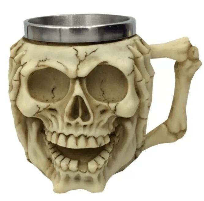 Caneca Crânio Caveira Skull Sábia Surda Decorativo Resina