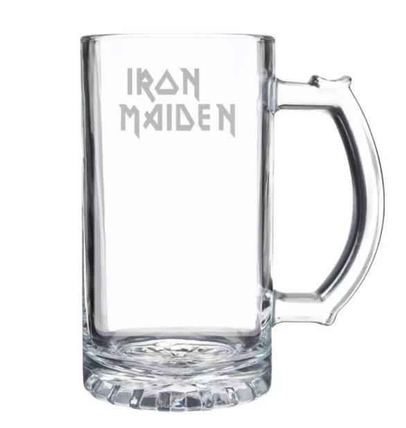 Caneca de Chopp em Vidro com Estampa Jateada Iron Maiden 450 ml