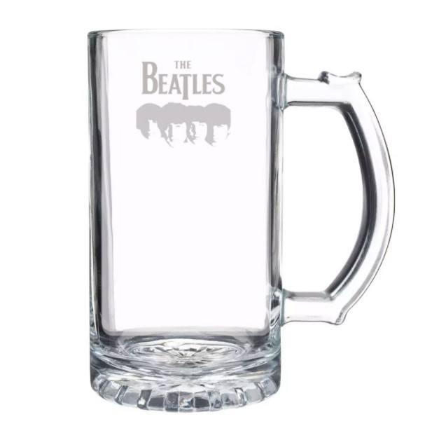 Caneca de Chopp em Vidro com Estampa Jateada The Beatles 450 ml