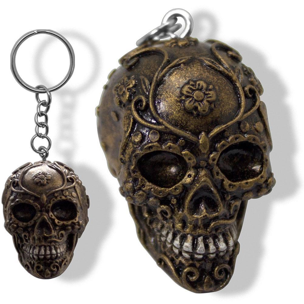 Chaveiro Caveira Crânio Bronze Criativo Divertido Resina