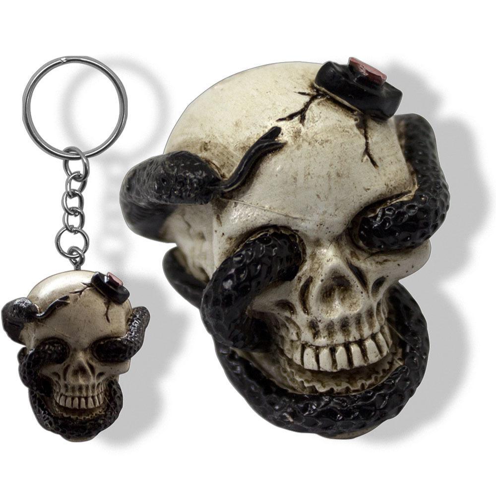 Chaveiro Caveira Crânio Divertido Criativo Serpente Resina