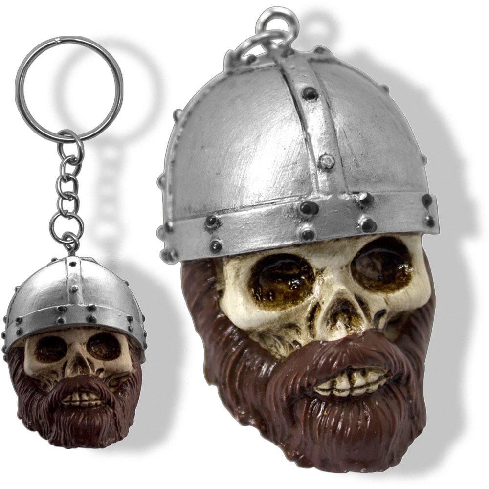 Chaveiro Caveira Crânio Divertido Criativo Viking Resina