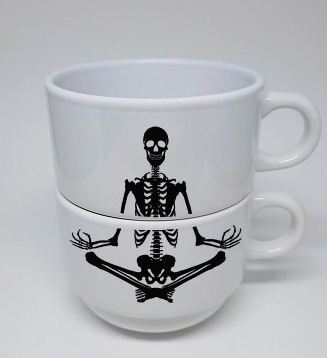 Conjunto Xícaras em cerâmica branca Skull 180ml - 02 unidades