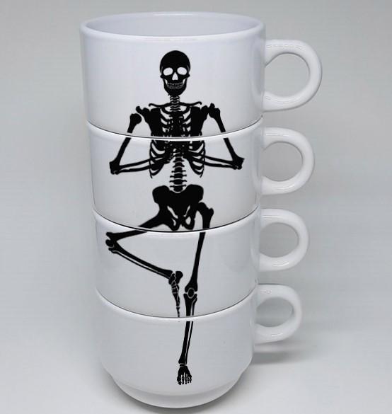 Conjunto Xícaras em cerâmica branca Skull 180ml - 04 unidades