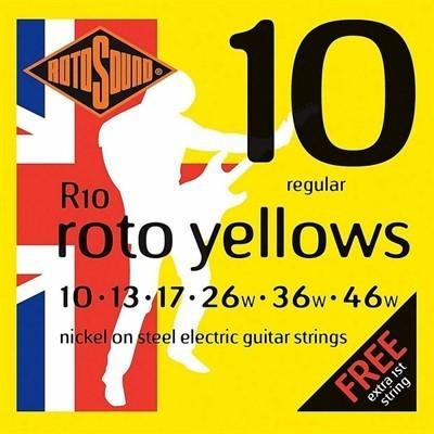 Cordas para Guitarra Encordoamento 010-046 R10 Tensão Regular Roto Yellows Rotosound