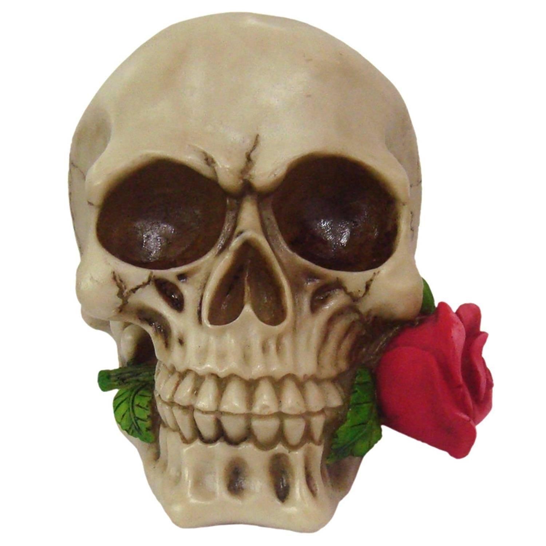 Crânio Caveira Com Rosa Boca Decorativo Resina
