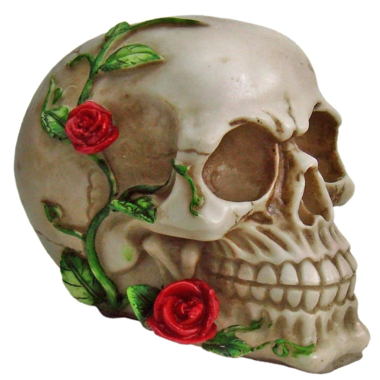 Crânio Caveira Rosa Rosto Decorativo Resina