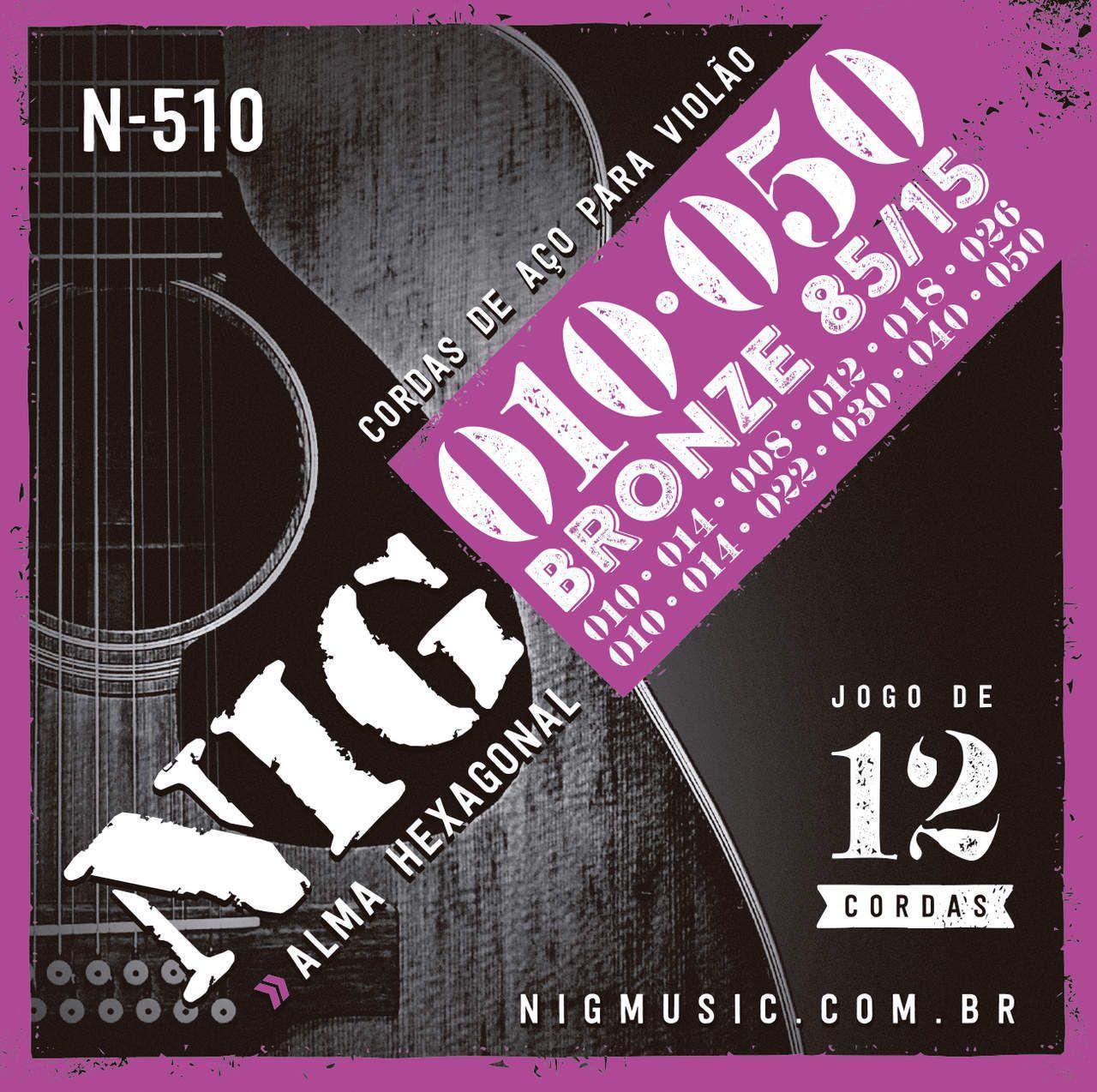 Encordoamento  de Aço NIG N-510 para Violão 12 Cordas