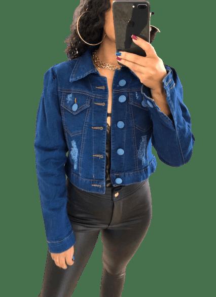 Jaqueta Feminina Jeans Botão Forrado Manga Bufante
