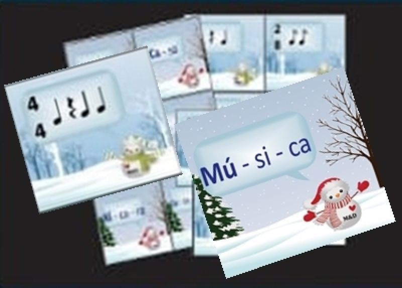 Jogo Acentuação Métrica e linguagem ritmica (cards dos bonecos de neve)