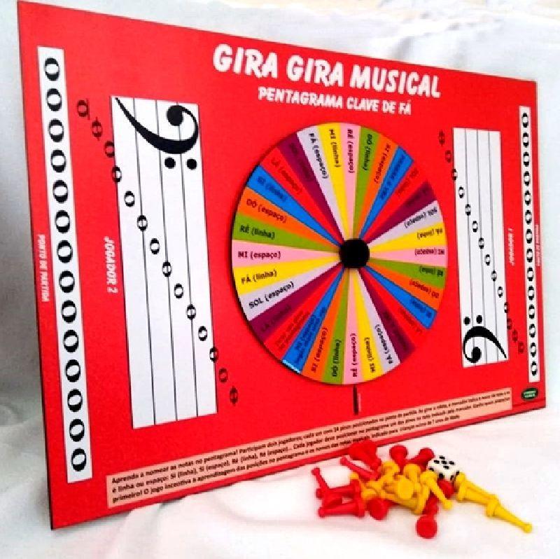 Jogo de Tabuleiro com Roleta Pentagrama Clave de Fá