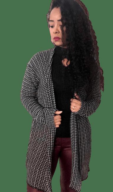 Kimono Feminino Casaco Longo Tricot Mescla