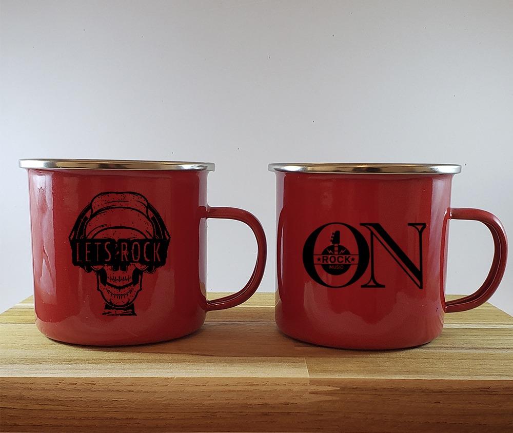 Kit 2 canecas esmaltada vermelha com borda prata Let´s Rock