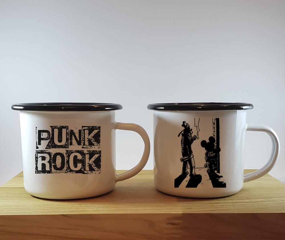 Kit 2 canecas esmaltada branca com borda preta Punk Rock