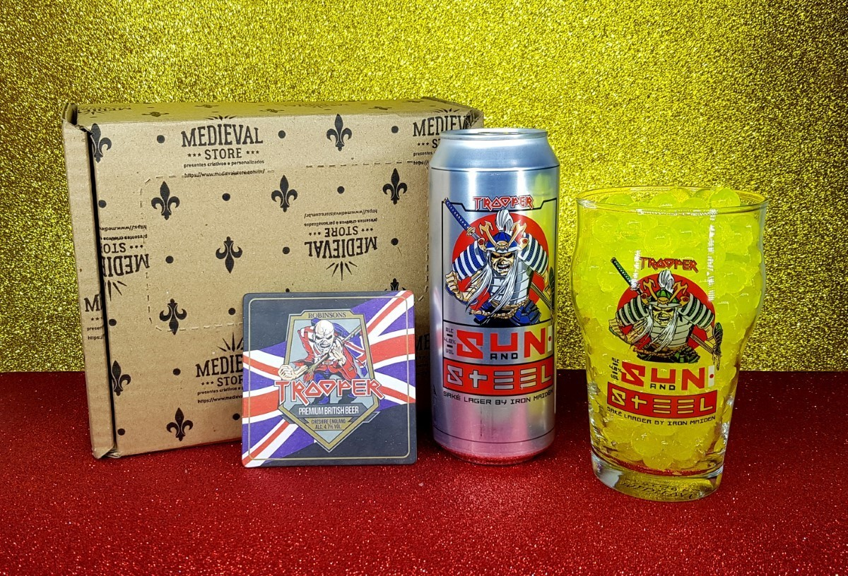 Kit Cerveja Trooper Sun and Stell + Copo Pint Sun and Stell caixa medieval