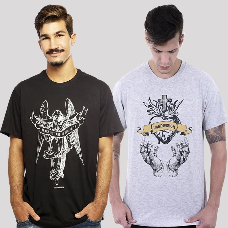 KIT  Camiseta Hardivision - Compre 1, Leve 2 - Anjo Preto + Sagrado Coração