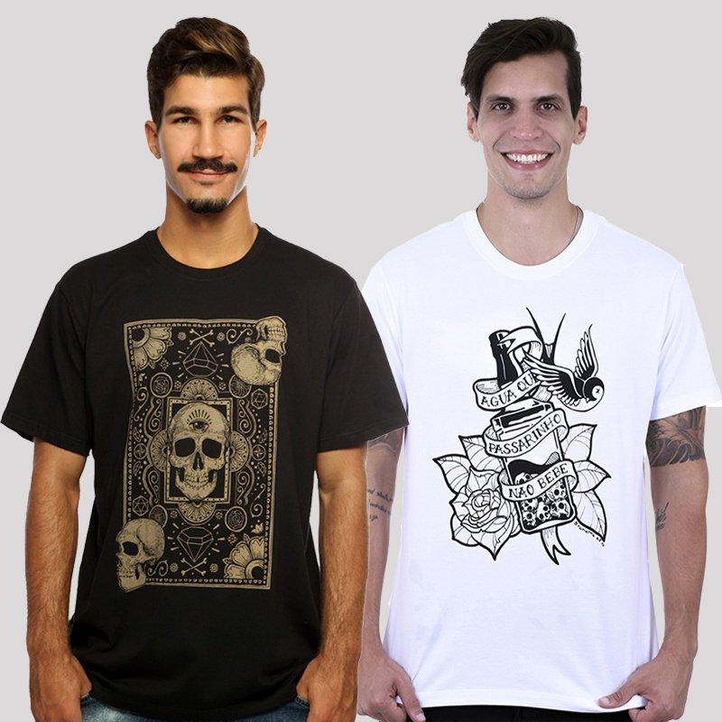 KIT Camiseta Hardivision  - Compre 1, Leve 2 - Cards Of Skull + Jack Branco