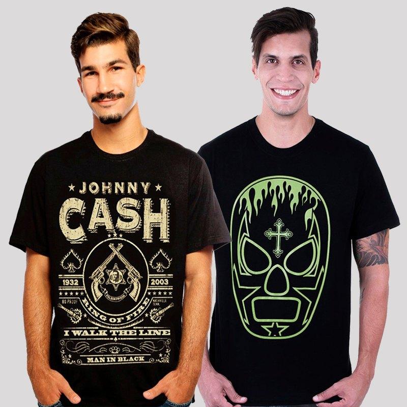 KIT Camiseta Hardivision - Compre 1, Leve 2 - Lucha Libre + Johnny Cash