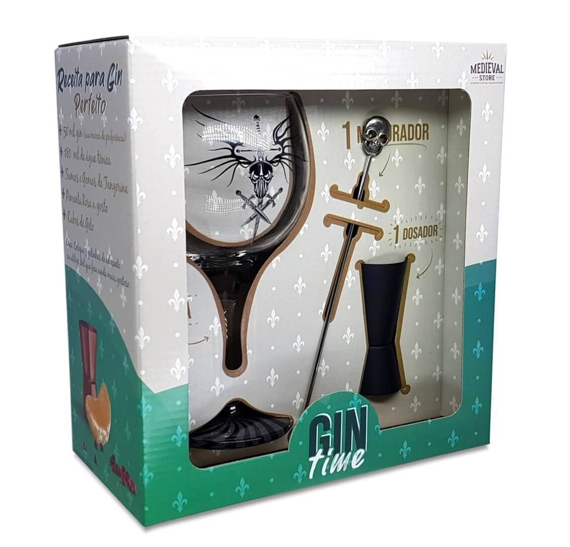 Kit Gin Time Taça Adaga + Dosador e Mexedor caixa presente