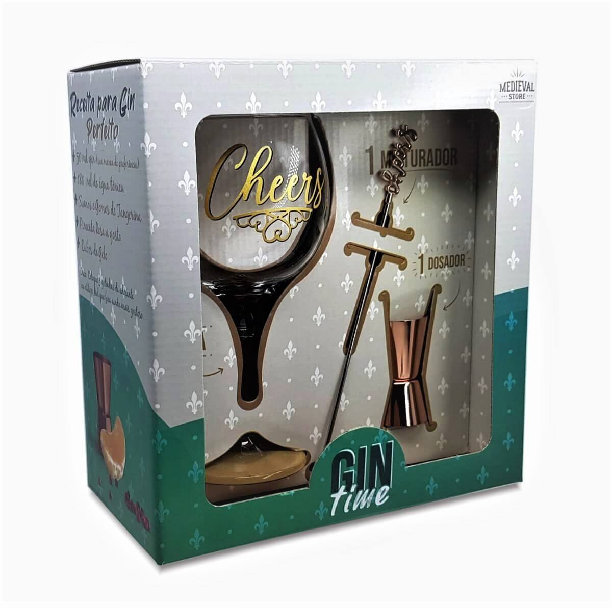 Kit Gin Time Taça Cheers + Dosador e Mexedor caixa presente