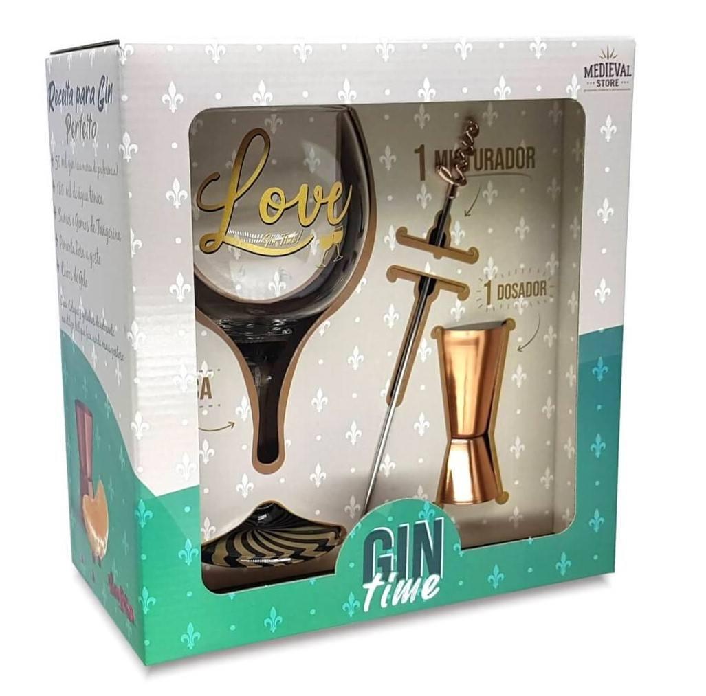 Kit Gin Time Taça Love + Dosador e Mexedor caixa presente