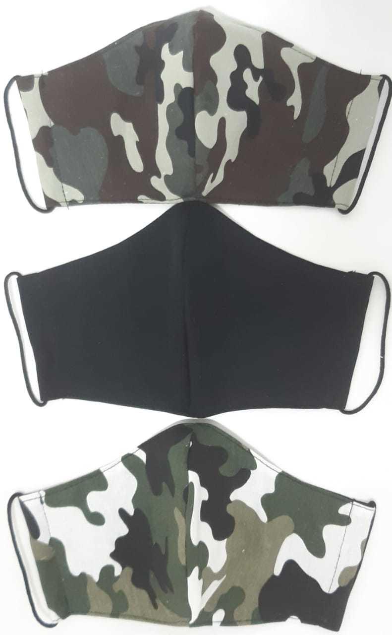 Kit Máscara de Proteção adulto juvenil infantil  100% algodão lavável regulável -  3 unidades