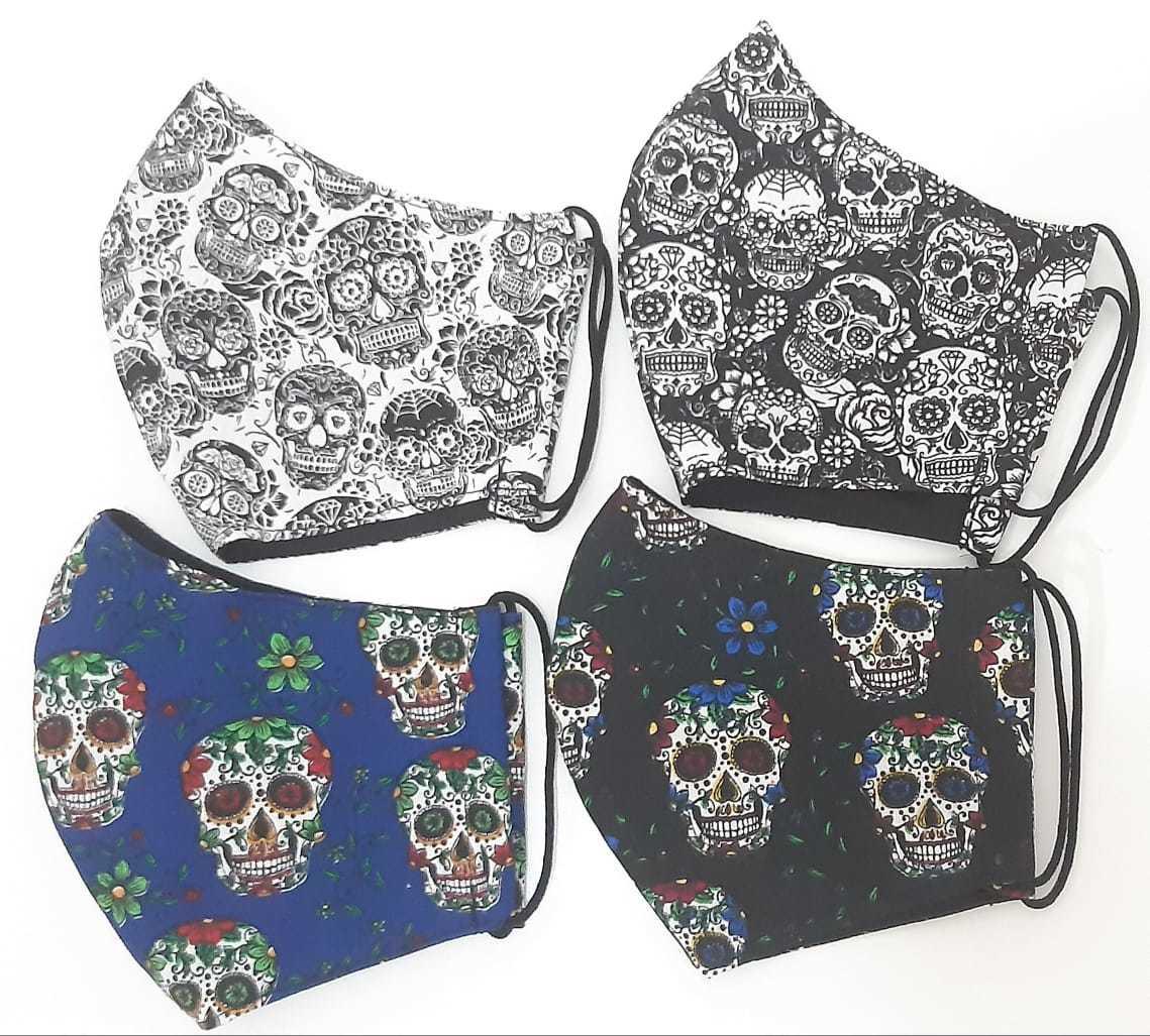 Kit Máscara de Proteção adulto juvenil infantil 100% algodão lavável rregulável -  4 unidades