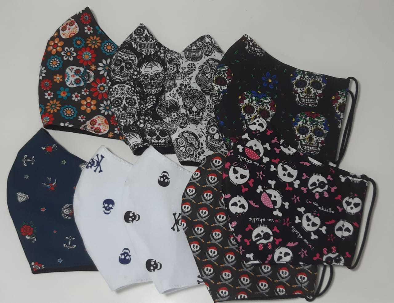 Kit Máscara de Proteção adulto juvenil infantil 100% algodão lavável regulável -  9 unidades