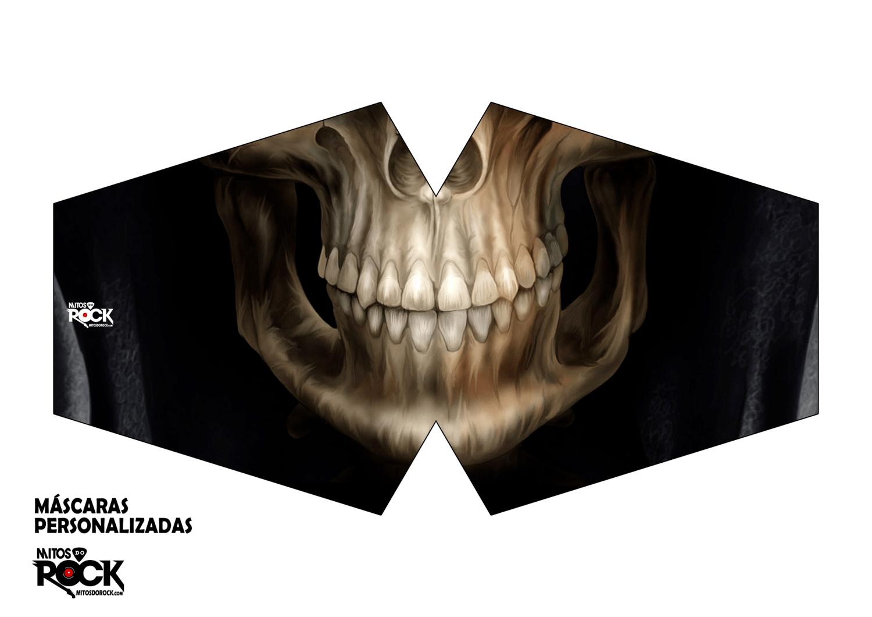 Kit Máscara de Proteção adulto juvenil infantil em tactel anatômica caveira - Kit 3 unidades