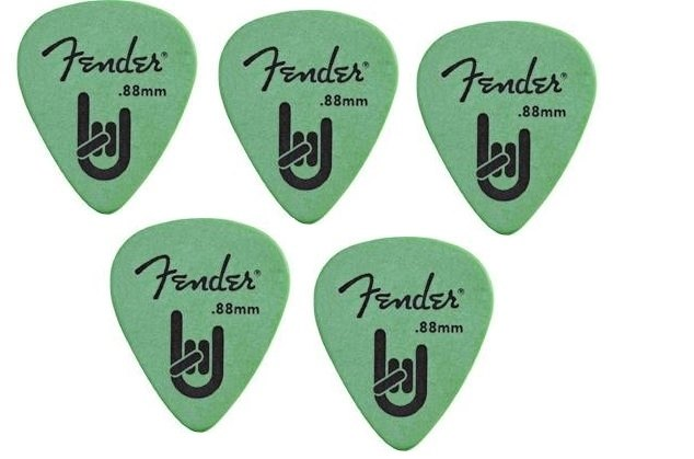 Kit Palhetas Fender Rock On 0.88mm com 05 unidades Verde
