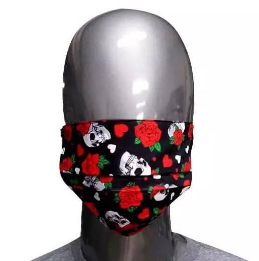 Máscara de Tecido Caveiras e Rosas