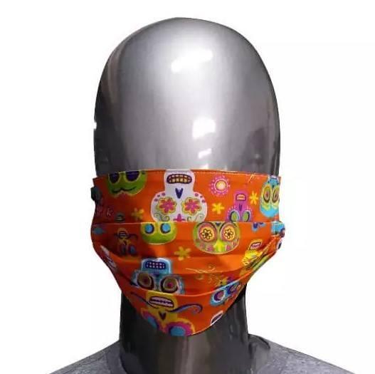Máscara Laranja de Tecido Caveiras