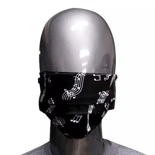 Máscara Preta de Tecido Notas Musicais