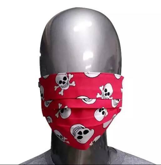 Máscara Vermelha de Tecido Caveiras