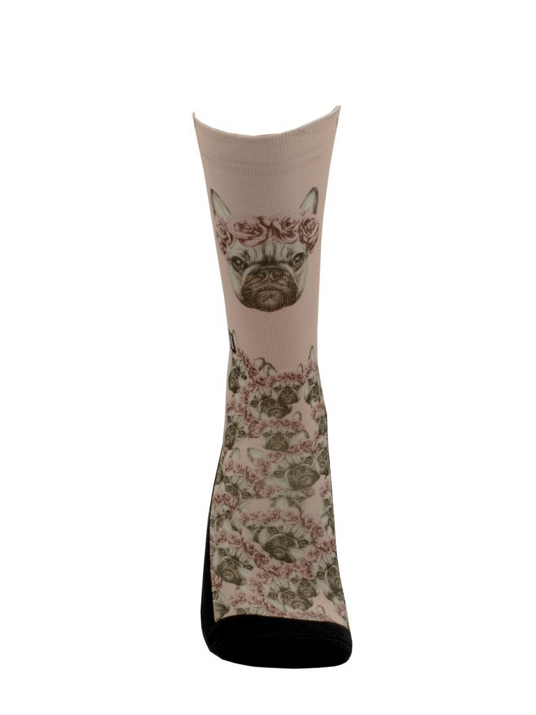 Meia Cano Alto - Buldog Frances Floral
