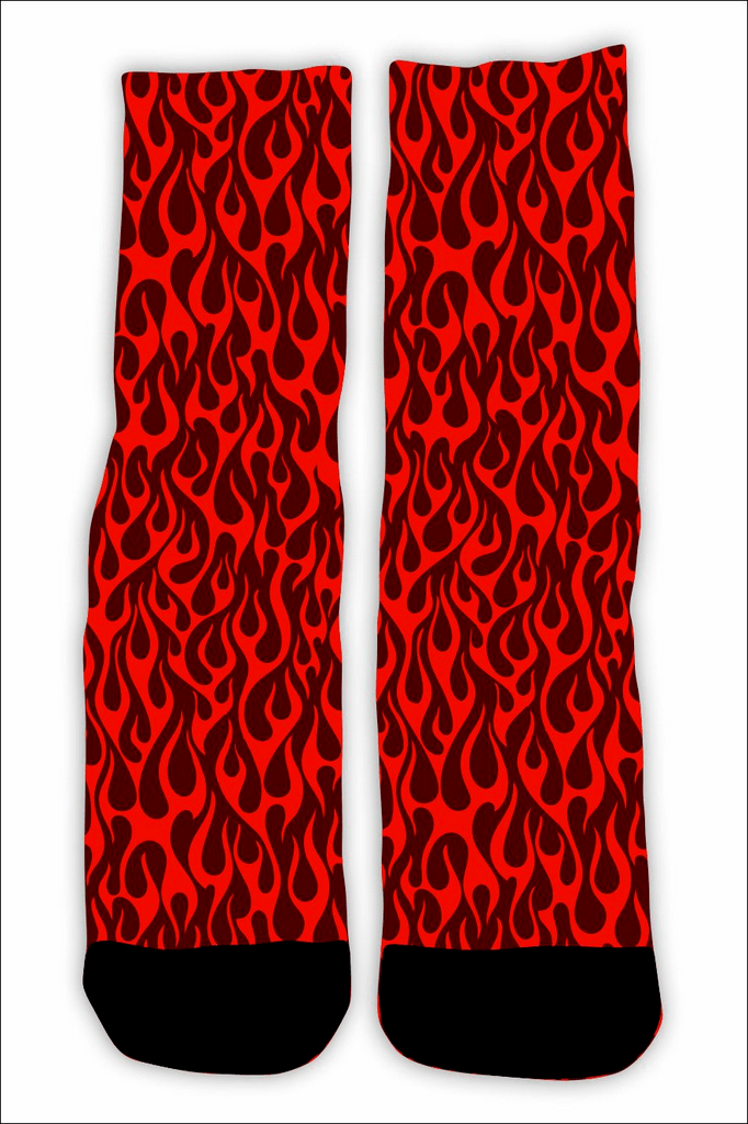 MEIA FLAME FULL PRINT RED