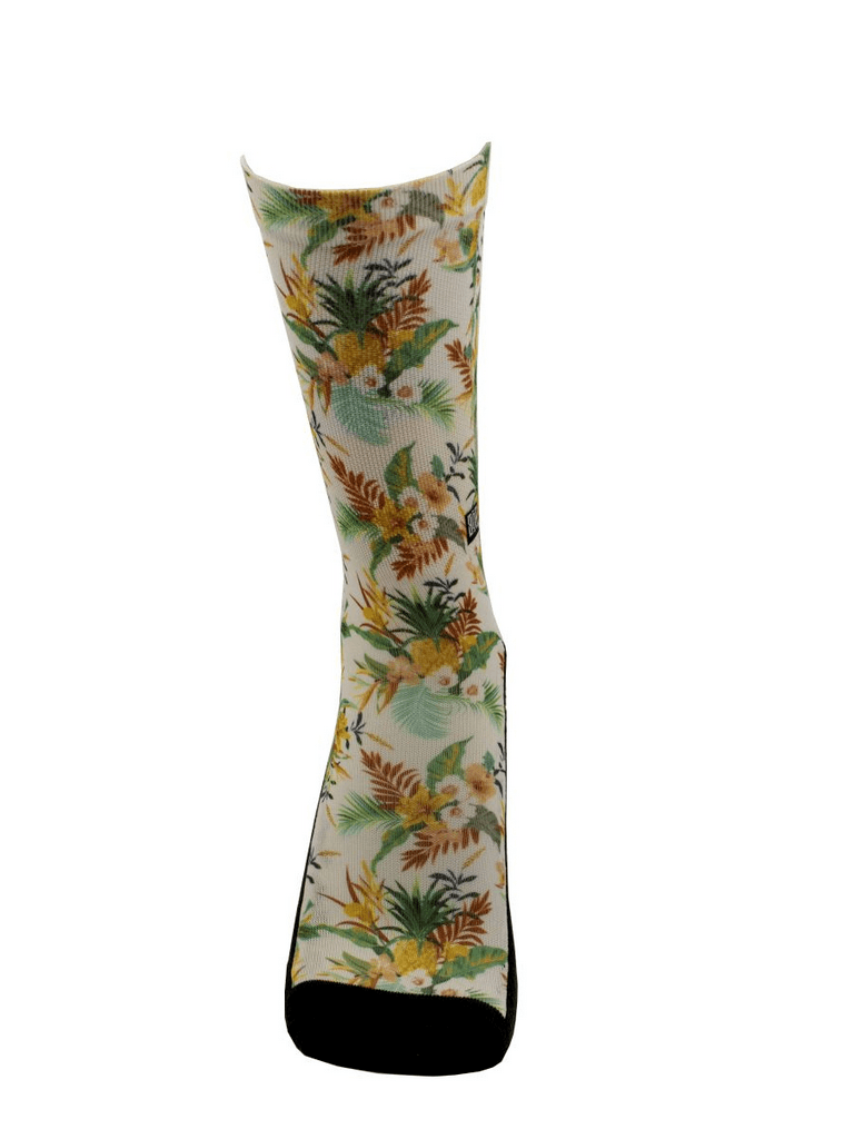 Meia Cano Alto - Floral Abacaxi - Branca