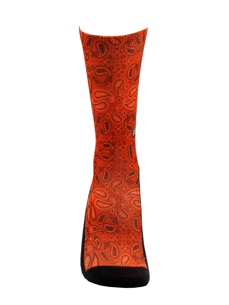 Meia Cano Alto - Red Paisley