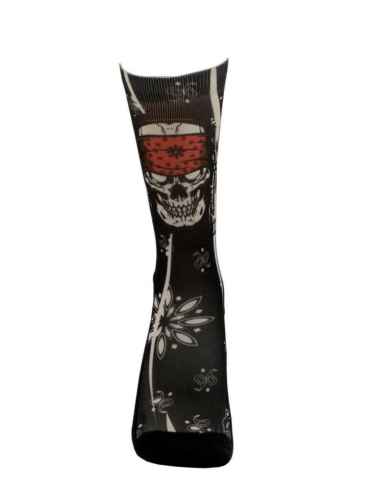Meia Cano Alto - Skull Bandana Black