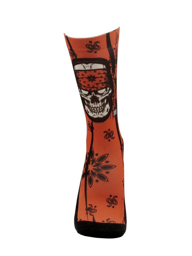 Meia Cano Alto - Skull Bandana Red
