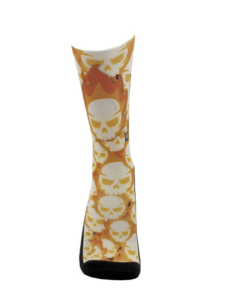 Meia Cano Alto - Skull Flames Orange