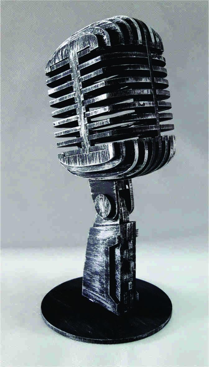Microfone Decorativo em MDF
