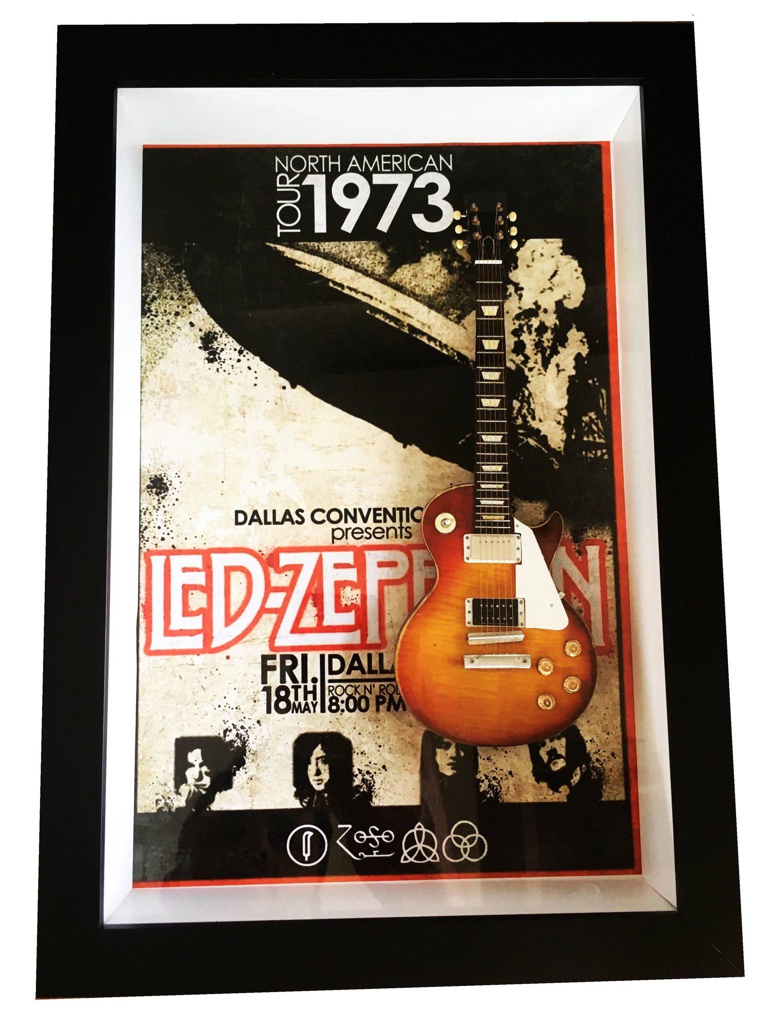 Miniatura Instrumento Musical Guitarra Led Zeppelin Tour North America com quadro