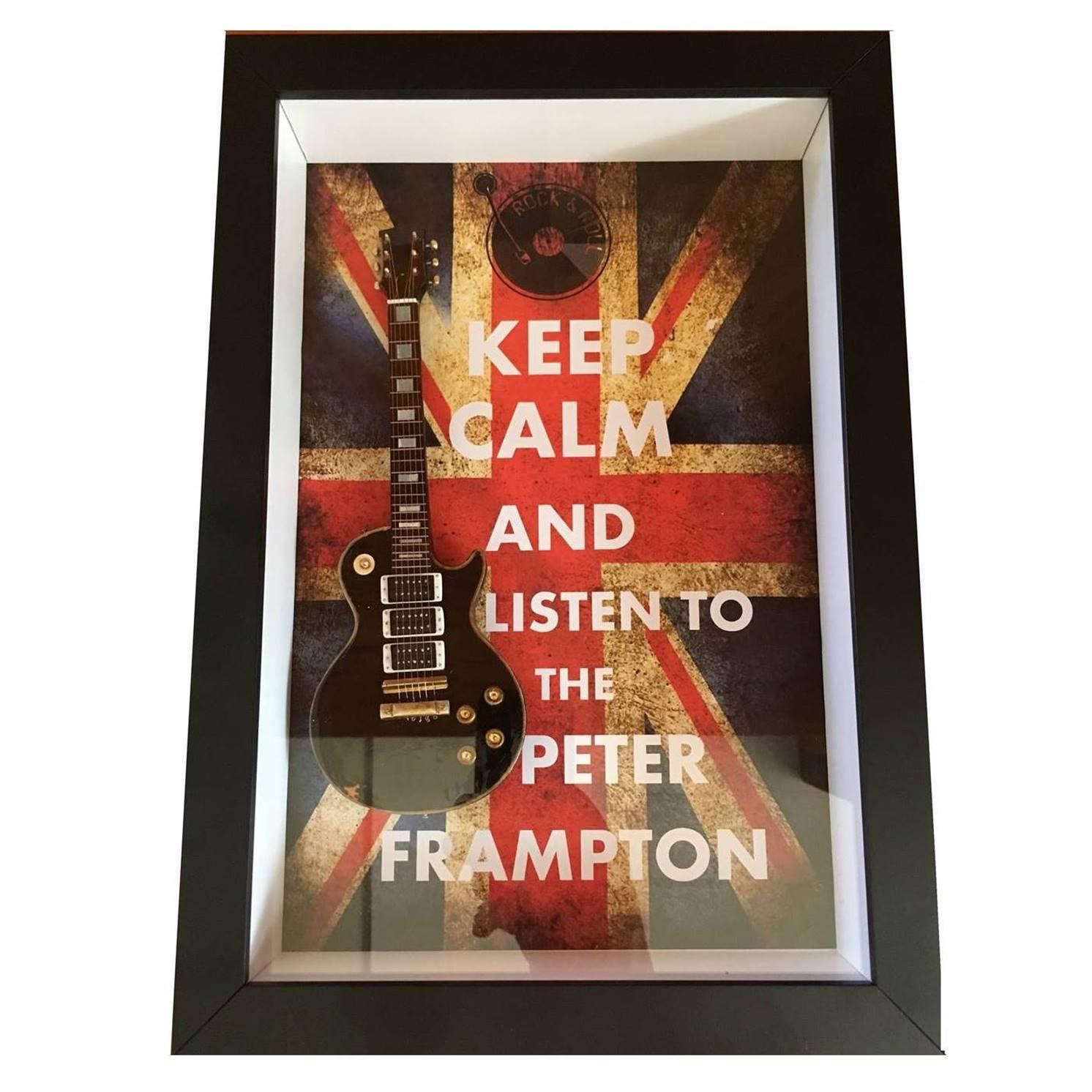 Miniatura Instrumento Musical Guitarra Peter Frampton com quadro