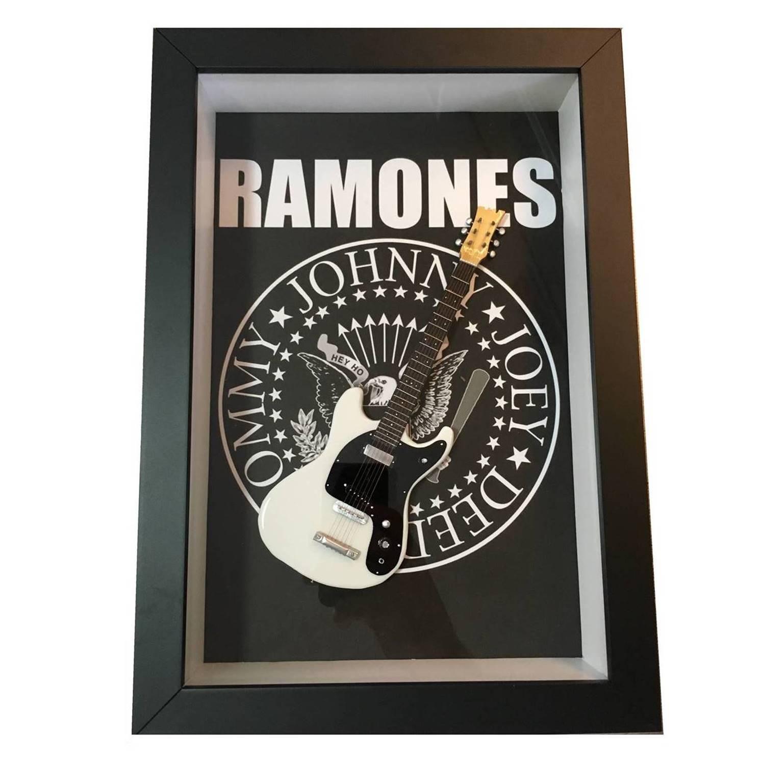 Miniatura Instrumento Musical Guitarra Ramones com quadro