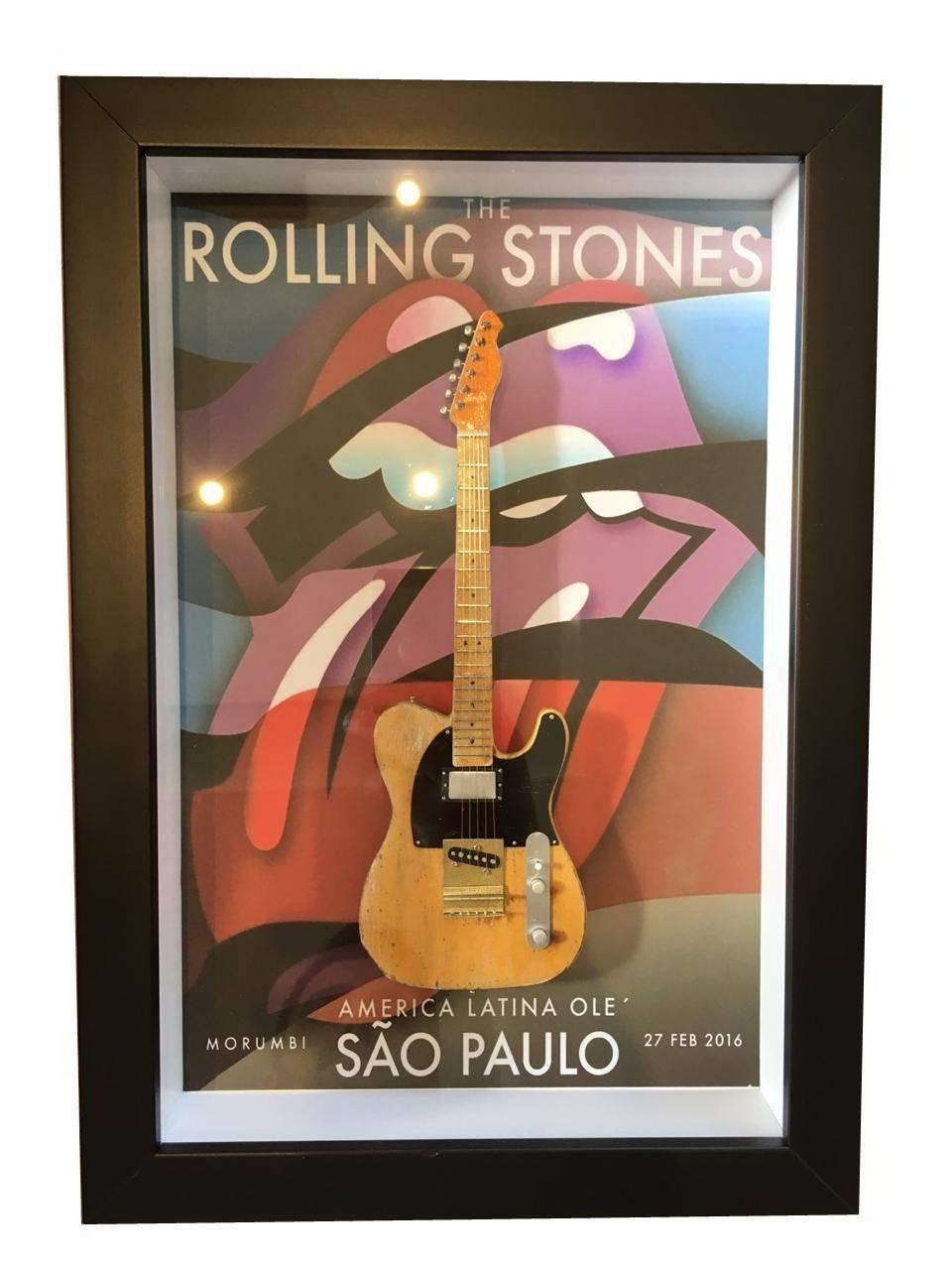 Miniatura Instrumento Musical Guitarra The Rolling Stones com quadro